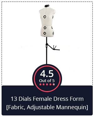 Best for Sewing Projects – 13 Dials Female Dress Form [Fabric, Adjustable Mannequin]