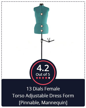 Premium Quality at Affordable Price – 13 Dials Female Torso Adjustable Dress Form [Pinnable, Mannequin]